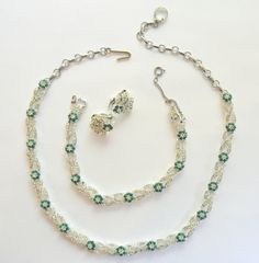 Vintage Rhinestone Green Necklace Bracelet by SongSparrowTreasures, $40.00