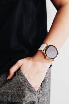 Fashion meets tech in the Q Wander rose gold smartwatch. via @ smithandriah