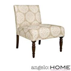 @Overstock - This beautiful angelo:HOME Bradstreet armless chair was designed by Angelo Surmelis. The Bradstreet chair is covered in a vintage white scroll on creamy tan background.http://www.overstock.com/Home-Garden/angelo-HOME-Bradstreet-Filigree-Cream-Tan-Armless-Chair/6753127/product.html?CID=214117 $148.49