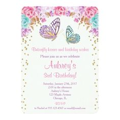 Watercolor Birthday Invitations Butterfly birthday invitation, pink purple gold card
