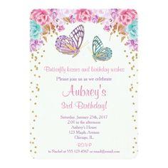 Watercolor Birthday Invitations Butterfly birthday invitation, pink purple gold card
