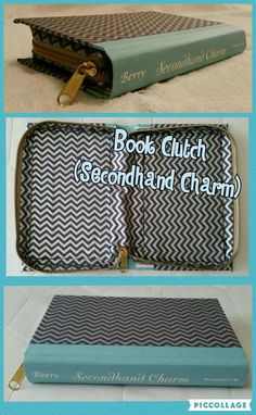 Book Clutch Handmade (Titled: Secondhand Charm) Light Blue Spine, Gray Cover With Silver Chevron Pattern, Zips Closed.