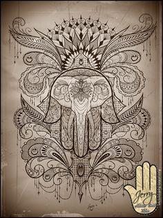 hamsa hand elephant tattoo idea design, mandala lace by  Dzeraldas Kudrevicius atlantic coast tattoo cornwall