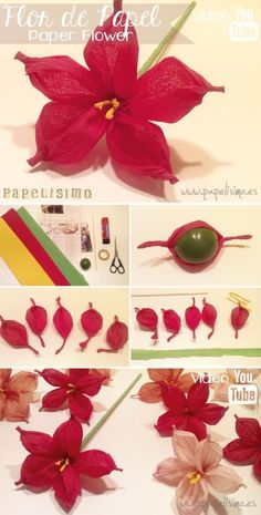 how to make silk paper or china flower with ball step by step with video Paper Flowers Craft, Tissue Paper Flowers, Paper Roses, Felt Flowers, Flower Crafts, Diy Flowers, Fabric Flowers, Flower Art, Diy Paper