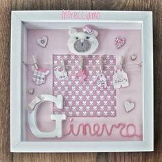 E anche Ginevra ha il suo quadretto 💕  #intrecciamo❤️ #quadrettonascita #quadrettipersonalizzati #regalobimbi #fattoamanoconamore #orsetto #teddybear Ribba Frame, Cornice, Baby Born, Box Frames, Baby Cards, Shadow Box, Baby Items, Baby Gifts, Projects To Try