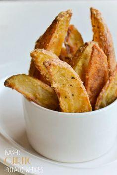 baked garlic potato wedges
