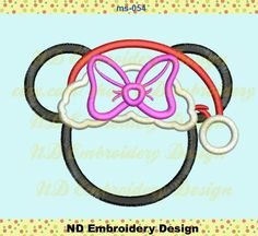 Christmas Minnie Applique Design, Disney Santa Minnie Machine Embroidery, , ms-054 by NDembroidery on Etsy https://www.etsy.com/listing/235700741/christmas-minnie-applique-design-disney