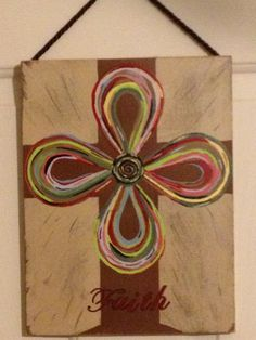 Cross painting Cross Paintings, Acrylic Paintings, Acrylic Art, Painting Art, Painted Wooden Crosses, Painted Rocks, Christian Paintings, Cross Art, First Holy Communion