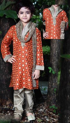 f0b5f31dfa93 orange jacquard readymade kurta pajama.