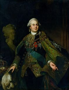 Portrait of Louis XVI of France with bust of Marie Antoinette by Alexandre Roslin, 1782-1783 (PD-art/old), Zamek Królewski w Warszawie (ZKW), one of the portraits assembled by Stanislaus Augustus for his Conference Room at the Royal Castle in Warsaw