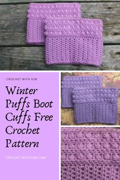 Crochet Craft Fair, Crochet Crafts, Easy Crochet, Free Crochet, Crochet Boot Cuff Pattern, Crochet Patterns, Half Double Crochet, Single Crochet, Puff Stitch Crochet