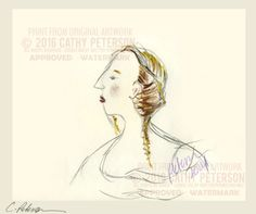 Head of a lady in profile =  Signed ART PRINT = Cathy Peterson = LISTED charcoal #MODERNIMPRESSIONISTEXPRESSIONISM