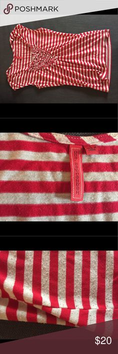 Anthropologie One.September shirt Red and White striped tank. Slight cap sleeve and nice gathering detail on bust. Slightly low cut in front can be worn with or without cami. Gently worn with slight pilling on side ( see pic). Cotton and poly. Anthropologie Tops Tank Tops