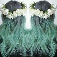 Love the grey green ish hair !