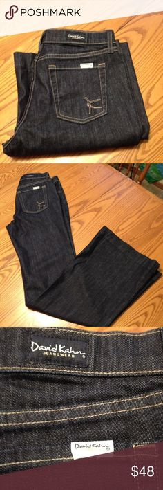 David Kahn Jeans David Kahn Jeans . Flare and   in dark Indigo wash.  Size 28. Inseam 34 Length 43 1/2. 98%Cotton 2% Elastane.   Jean  is fairly new  Ive only worn  but a few times. David Kahn Jeans Flare & Wide Leg