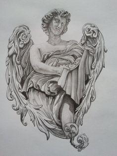 Amazing Grey Ink Angel Tattoo Design