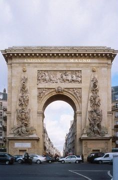 Porte Saint- Denis, Paris, France. It  is an example of triumphal arch inspired by the Arch of Titus in Rome. Visit www.talkinfrench.com for everything you'd love to learn about #Frenchlanguage and #culture.