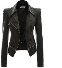 S-4XL Women Gothic Jackets Spring Fashion Short Slim PU Leather Coat Zipper Autumn Tops Overcoat Black