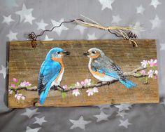 Bluebirds and Cherry Blossoms hand painted barnwood rustic Pallet Painting, Pallet Art, Tole Painting, Painting On Wood, Painting & Drawing, Painted Boards, Bird Art, Barn Wood, Blue Bird