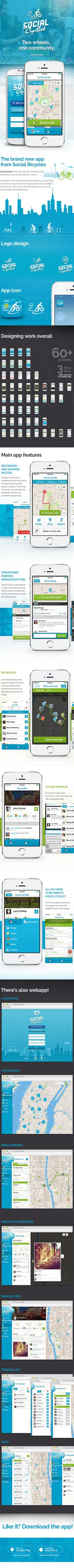 Social Cyclist - Mobile App - for Bicycle enthusiasts by John Zmuda, via Behance