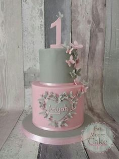 Pink and grey butterflies 1st birthday cake!