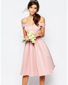 Chi Chi London | Pink Midi Prom Dress With Full Skirt And Bardot Neck | Lyst
