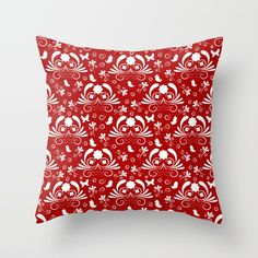 Abstract floral red, white Throw Pillow