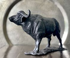 by Jonathan Parkinson titled: 'Cape Buffalo (Small Bronze Table Top sculpture)'. Small Sculptures, Animal Sculptures, African Elephant, African Animals, Bronze Sculpture, Sculpture Art, Abstract Sculpture, Buffalo Animal, African Buffalo