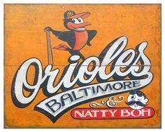 Baltimore Orioles  Print, Natty Boh, original art,faux vintage Print. $15.00, via Etsy.