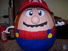 Got the Kiddies around? Afraid of running with knives? USE PAINT! Itsa-me! MARIO Pumpkin!!!