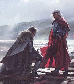 """König Torrhen Stark kniet vor Aegon dem Eroberer (von Chase Stone aus """"Die Welt von Eis und Feuer"""")."""