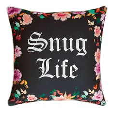 Pretty and wild. Snuggle up with this stylish, floral pillow. This comfy 18-inch square throw goes with everything. Down to earth style with just the right amount of edge - it's the perfect dorm bedding accessory. #snug #pillow #thuglife #comfy #covy #decor #dorm #college