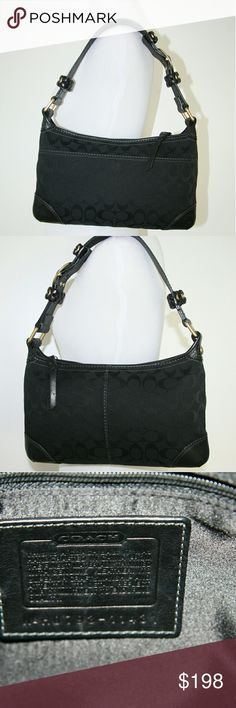 Coach Bag Coach Bag.  Black Coach monogram jacquard fabric.  Black leather trim, leather strap, leather corners.  Brass gold hardware.  Smooth working zipper.  Single strap. Adjustable length.  Satin lining, like new!  Coach hobo bag in nearly new condition. Carried only once!   No scratches, rips, tears, stains, holes, spots, marks, scuffs, wear spots. Coach Bags Hobos