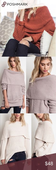 SYDNEY knit off shoulder sweater top - RUST Chunky knit off shoulder sweater top.   ALSO AVAILABLE IN RUST AND MUAVE   !!!NO TRADE, PRICE FIRM!!! Bellanblue Tops Blouses