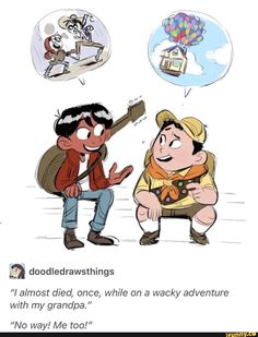 "Coco meets Russell - I imagine Morty Smith just being like ""amateurs."" Coco meets Russell - I imagine Morty Smith just being like ""amateurs. Disney Pixar, Disney Marvel, Disney Fan Art, Disney Fun, Disney And Dreamworks, Disney Animation, Disney Magic, Disney Stuff, Disney Princes"