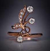 Antique Art Nouveau 14k Rose Gold And Diamond Russian Flower Ring - Moscow, Russia  c. 1908