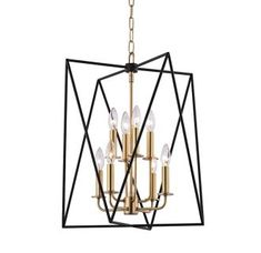 "Hudson Valley Lighting 1118-AGB Aged Brass Laszlo 8 Light 18"" Wide Cage Style Pendant - LightingDirect.com"