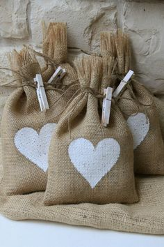 Burlap Gift Bags, White Heart, Shabby Chic Wedding, Valentines Day, White and Natural, via Etsy.