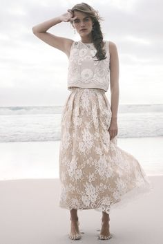 Two-piece lace wedding dress #wedding #dress #fashion