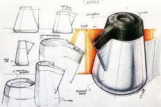 Notice the different styles of tonal rendering and how it wraps around the surface of the container. The background colour contrasts with the product and brings the figure forward on the page Dibujo de cafetera, coffee maker Sketch Design, Design Art, Volume Art, Hidrocor, Rendering Techniques, Object Drawing, Industrial Design Sketch, Sketches Tutorial, Copic Sketch
