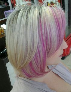 Blond and pink short hair