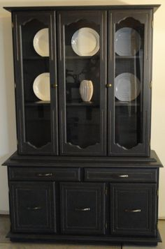 1950s drexel bow front china cabinet | more refinished china