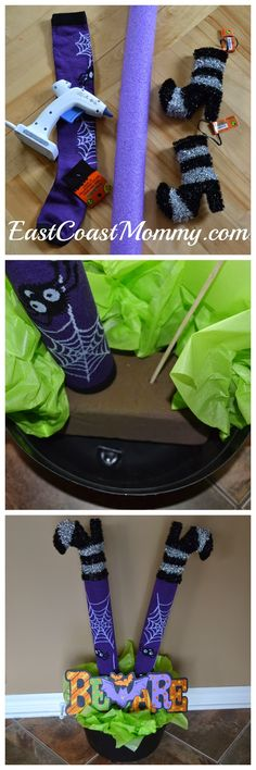 pool noodle witch legs are adorable. Love the purple tights!These pool noodle witch legs are adorable. Love the purple tights! Holidays Halloween, Fall Halloween, Halloween Crafts, Happy Halloween, Halloween Party, Halloween Supplies, Halloween Mural, Halloween Scene, Halloween Wreaths