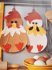 Chicken potholders I designed and crocheted for the book