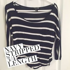Three-Quarter Length Stripped Shirt Pocket in front. Navy and off white stripes. Selling because it's small on me. Forever 21 Tops Tees - Long Sleeve
