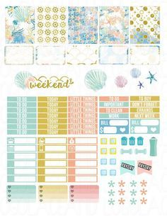 Printable Planner Stickers Sea Beach Summer Ocean by LaceAndLogos