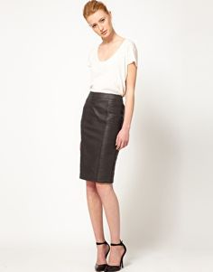 Leather Panel Skirt. trying to figure out how to get one of these made. in black or a caramel color.