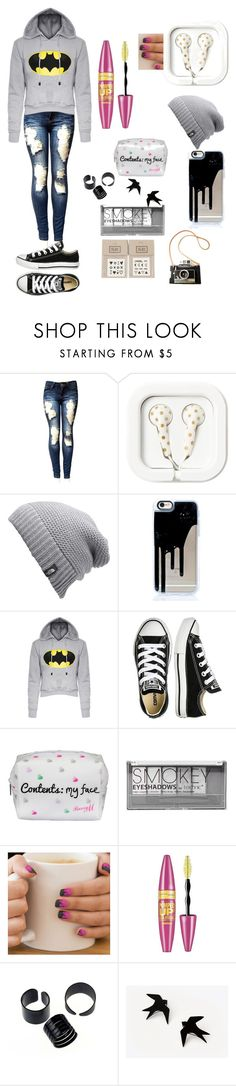 """""""IDK what this is .___."""" by msunicornanna ❤ liked on Polyvore featuring The North Face, Converse, Lipsy, Boohoo, MINX, Maybelline and NAVUCKO"""