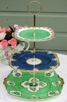 vintage green and blue three-tiered cake plates stand