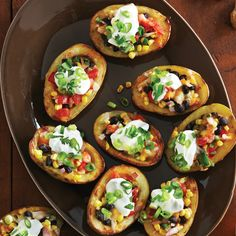Southwestern Potato Skins - Clean Eating (substitute greek yogurt for the sour cream...)